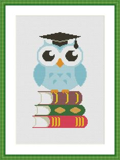 Cross stitch pattern Owl and books Graduation PDF Instant | Etsy