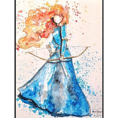 Disney Drawing Watercolor anything is cool. And that it's Merida just makes it cooler. Disney Princess Drawings, Disney Princess Art, Disney Fan Art, Disney Drawings, Cartoon Drawings, Cute Drawings, Princess Merida, Tangled Princess, Drawing Disney