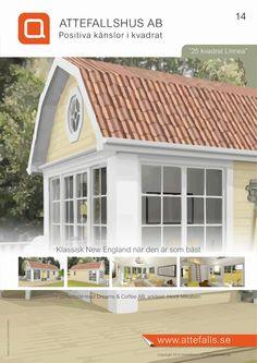 """Framsida till prislista för """"25 kvadrat Linnea"""" Hus ritat utav arkitekt Heidi Mikalsen. För mer info besök www.attefalls.se"""