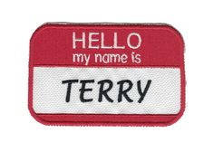 "Custom Embroidered Vertical 8/"" x 2/"" Name Tag Patch With VELCRO® Brand Fastener"