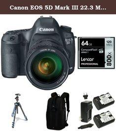 Canon EOS 5D Mark III 22.3 MP Full Frame Digital SLR Camera with EF 24-105mm f/4 L IS USM Lens, 64GB Memory Card, Extra Battery, Bag and Manfrotto Tripod. Lowepro Flipside 300 DSLR Camera Backpack. Manfrotto MKBFRA4L-BH BeFree Compact Aluminum Travel Tripod, Blue. Canon EOS 5D Mark III 22.3 MP Full Frame CMOS Digital SLR Camera with EF 24-105mm f/4 L IS USM Lens. Lexar LCF64GCRBNA800 Professional 800x 64GB VPG-20 Compact Flash Card. Wasabi Power Battery (2-Pack) and Charger for Canon…