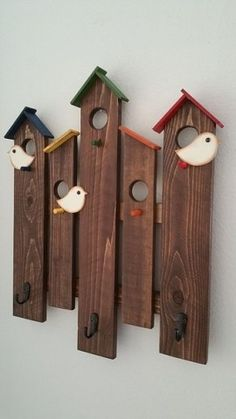 Coat Rack, wall rack, Birdhouse wall rack, wood wall rack, wood coat rack by CountryChicBowtic on Etsy Super cute birdhouse wooden wall rack for any room in your home or office. It measures high and wide and will hold up to Custom colors are available. Outdoor Wood Projects, Small Wood Projects, Scrap Wood Projects, Woodworking Projects, Pallet Projects, Fine Woodworking, Pallet Ideas, Wood Ideas, Woodworking Furniture