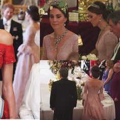 The Ruby and Diamond Floral Bandeau Necklace was one of the Queen's wedding gifts from her parents, King George VI and Queen Elizabeth. Kate also wore the Lovers Knot tiara. Kate debuted a gorgeous new bespoke gown by Marchesa.  via ✨ @padgram ✨(http://dl.padgram.com)