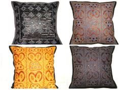 """16"""" EMBROIDERED PILLOW COVER INDIAN DECORATIVE THROW PILLOW THROW CASES ZIP BACK"""