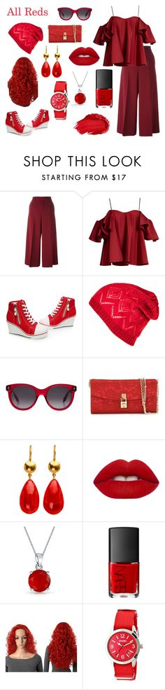 """""""All Reds"""" by sweetie-pie77 on Polyvore featuring RED Valentino, Anna October, Alexander McQueen, Dolce&Gabbana, Lime Crime, Bling Jewelry, NARS Cosmetics, Crayo, Urban Decay and red"""