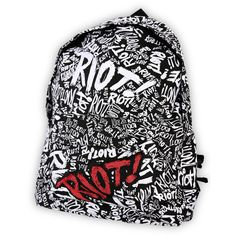 Paramore Riot Backpack   Hot Topic ❤ liked on Polyvore featuring bags, backpacks, accessories, paramore, print bags, knapsack bags, backpacks bags, pattern backpack and logo bags