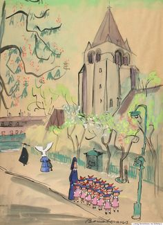 "Lot 29, Ludwig Bemelmans, ""Parisian Street Scene with Madeline, Miss Clavel, and Pupils,"" (Late 1950's –early 1960's). Original gouache and ink drawing on paper, signed ""Bemelmans"" in black ink, (23 1/2 x 17 1/4 in.; 597 x 438mm), c. late 1950's–early 1960's. Matted, glazed and framed. Est. $25,000/35,000"