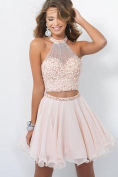 Two Pieces Homcoming Dresses, Bodic. Two Pieces Homcoming Dresses, bodice pearl Zipper Fleabane Chiffon Homcoming Dresses, For Teens Short Prom Dresses, Mini Dresses Semi Dresses, Sweet 16 Dresses, Pretty Dresses, Beautiful Dresses, Light Pink Dresses, Elegant Dresses, Semi Formal Dresses For Teens, Casual Dresses, Sweet 16 Outfits