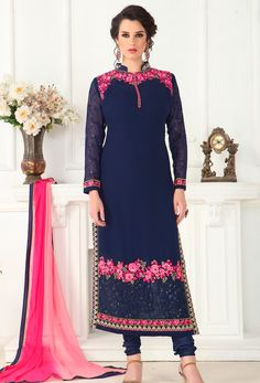 Semi #Stitched Navy #Blue Georgette #Straight Cut #Suit #nikvik  #usa #designer #australia #canada #freeshipping #suits