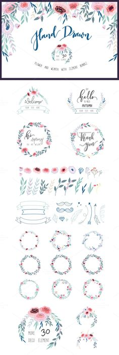 Hand drawn Floral Blue set @photoshoplady
