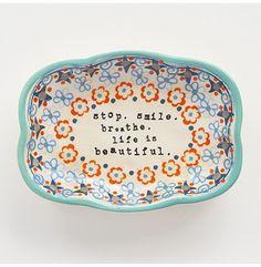 Stop Smile Breathe Artisan Trinket Dish - Gifts - Food + Drinks