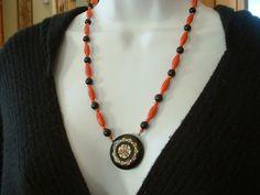 Art Deco Antique Celluloid Pendant Necklace Red & Black by tea500, $97.50