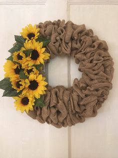A personal favorite from my Etsy shop https://www.etsy.com/listing/486473716/sunflower-burlap-wreath-every-day-wreath