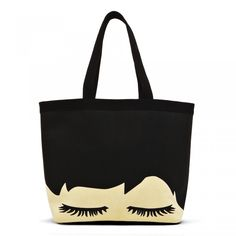 Black Eyelash Print Luisa Tote: Say goodbye to the plastic shopping bag era and welcome in Lulu's Eyelash Print Luisa Tote. Shopping bags just got restyled with this eye-catching designer tote bag. - Visit Lulu Guinness at http://www.luluguinness.com/