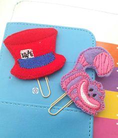 Alice in Wonderland Planner Clip Set Felt by handmadefrillsuk