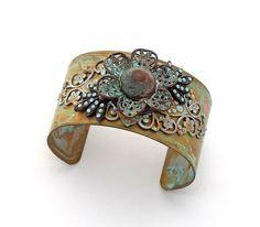 Statement Button Cuff Vintage Brass Filigree Flower Button Swarovski Crystal Chatons Antique Bronze Patina Blue Victorian Southwestern by Pretty Little Thorn, $65.00 USD