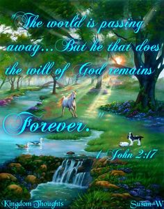 """""""And the world passeth away, and the lust thereof: but he that doeth the will of God abideth for ever."""" 1 John 2:17"""
