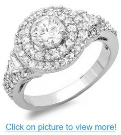 3.00 CT Platinum Plated Ladies Round Cubic Zirconia CZ Engagement Ring (Available in size 6, 7, 8) #CT #Platinum #Plated #Ladies #Round #Cubic #Zirconia #CZ #Engagement #Ring #Available #size