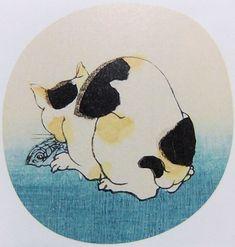 Utagawa Kuniyoshi Asian Cat, Japanese Woodcut, Japanese Cat, Gatos Cats, Kuniyoshi, Japan Design, Cat Colors, Japanese Painting, Japanese Art