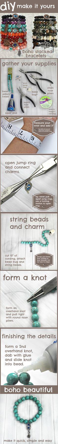 DIY Boho Stacked Bracelets