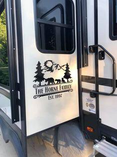 Camper Hacks Discover Large Vinyl Monogram - Bear Scene - Split Monogram with Bear family - Custom RV Decal - Camping Decal - Truck Window Sticker Camper Hacks, Camper Trailers, Rv Hacks, Diy Camper, Hacks Diy, Horse Trailers, Life Hacks, Truck Window Stickers, Rv Decals