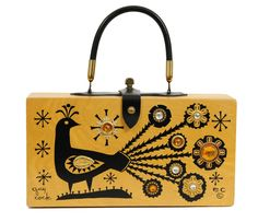 Enid Collins Peacock Purse design inspiration on Fab. Vintage Purses, Vintage Box, Vintage Handbags, Cigar Box Purse, Cigar Boxes, Tech Accessories, Fashion Accessories, Peacock Purse, Wooden Purse