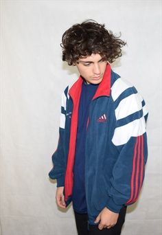 VINTAGE BLUE ADIDAS 90S TRACKSUIT TOP SPORTS JACKET