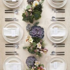 Make succulents the star of the show with this contemporary inspiration! {Image Via Martha Stewart}