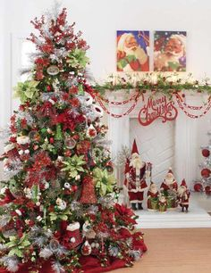 Colorful Christmas Decorations for Mantels | Como Fazer Tudo em Artesanato: Como Fazer Decoração de Árvores de ...