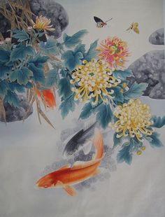 watercolor paintings of chrysanthemums | paintings of goldfish and Chrysanthemum by
