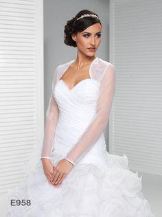 Full Length Long Sleeve Bridal Jacket Organza Bolero Wedding Jacket E958 in Clothes, Shoes & Accessories, Wedding & Formal Occasion, Bridal Accessories   eBay
