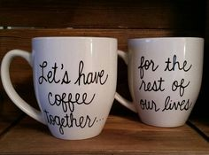 Wedding Gifts Let's have coffee together mugs, Proposal mug,Couple's engagement mug set, engagement gift - Engagement Mugs, Engagement Couple, Cute Engagement Gifts, Engagement Ideas, Cute Engagement Announcements, Engagement Outfits, Engagement Session, Just In Case, Just For You