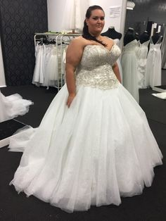 This plus size wedding gown has a beautiful beaded bodice. Strapless a-line #weddingdresses like this can be made for you in any size. We also make #replicas of couture design for brides who can not afford the original but still want the same look. Email us for pricing. Dariuscordell.com