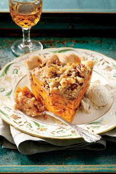 Sliced Sweet Potato Pie - Splurge-Worthy Thanksgiving Desserts - Southernliving. Recipe: Sliced Sweet Potato Pie  We love the layered look of this ever-so-sweet streusel-topped treat.