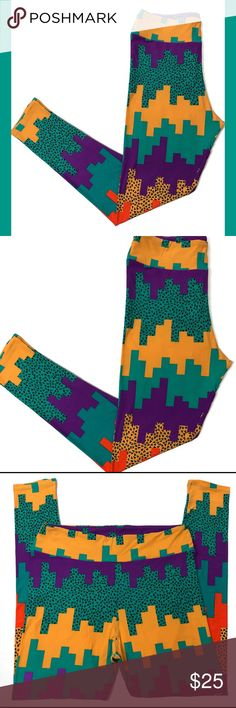 NWT LulaRoe Aztec Teal Yellow TC Leggings Funky LulaRoe TC Tall Curvy Leggings New and Unworn. Teal, Dark Yellow, Purple and Orange Funky 90's Aztec Print. Fun Pop of Orange Color in the Middle of Each Leg. Stretch fabric blend. Soft and so comfortable. Cute and fun print that goes with so many solid tops. I ship same or next day from a smoke free home. I try to describe items honestly and price them fairly. Feel free to make an offer or ask any questions. I'm happy to help. LuLaRoe Pants…