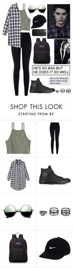 """""""Teens"""" by adrianagallas ❤ liked on Polyvore featuring New Look, Converse, Revo, LULUS, JanSport and NIKE"""