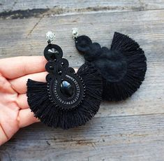 Long earrings made by soutache embroidery. Material : faceted glass crystals , preciosa beads, glass beads, fringers Earrings length is 9 cm ( inch). Finished on the back black color felt. If you have a question, write to me. Jewelry Design Earrings, Tassel Jewelry, Diy Earrings, Fashion Earrings, Earrings Handmade, Crochet Earrings, Handmade Jewelry, Jewellery, Embroidery Materials