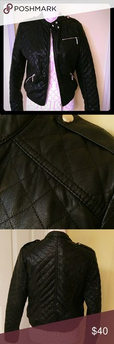 Faux leather bomber jacket Worn one time. In excellent condition. Black with gold accents two side pockets. Great statement piece. Forever 21 Jackets & Coats