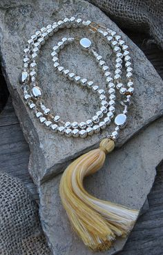 Very beautiful and unique mala necklace made ​​of 6 mm - 0.236 inch sterling silver beads and citrine gemstones. Together they count as 108 beads.