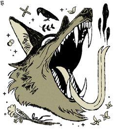 Wolf and Crow an art print by Milsae Kim Pretty Art, Cute Art, Art Sketches, Art Drawings, Aesthetic Art, Furry Art, Dark Art, Art Inspo, Art Reference
