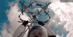 Anyone up for Drone-Diving? Human flight & jump with a 28-propeller drone ➡️➡️ http://www.gadgetify.com/skydiving-with-drone/