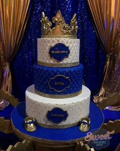 royal prince baby shower cake, gold crown topper gold baby shoes