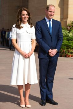 On Monday, the Duchess and Prince William visited Gandhi Smiriti, a Mahatma Gandhi museum in New Delhi. Kate Middleton sported a white 50s style swing dress with pocket details and nude pointed pumps.