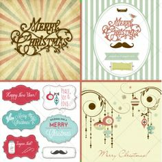 Retro Christmas vector collection - contains various vintage Christmas cards, backgrounds and patterns with many beautiful Christmas and winter motives created in retro design. http://www.123creative.com/holidays-vectors/809-mega-pack-75-retro-christmas-vectors.html (christmas, vectors, retro, vintage, pattern, old fashioned, motives, decorative, backgrounds, snowflakes, merry christmas, scriptures, christmas card, winter, decoration, advent wreath, badges, wrapping paper)