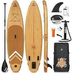 """VWB Inflatable Stand Up Paddle Board (11'×33""""×6"""") SUP Board Accessories with Non-Slip Deck Backpack Waterproof Bag Adj Paddle Board Manual Air Pump Leash Caudal Fin Adj Paddle for Youth & Adult Brand: VWB Color: YELLOW&BROWN Features: EXCEEDING LENGTH -This is an inflatable stand-up surfboard perfect for people keeping stable and balance. At 11'×33""""×6"""", the wide deck and longer shape is a gift for surfer to open the door to nature, to enjoy, to take a risk, beyond self. Longer length is Kayak Seats, Sup Boards, Inflatable Paddle Board, Gifts For Surfers, Pvc Fabric, Waterproof Backpack, Yellow And Brown, Paddle Boarding, Stand Up"""