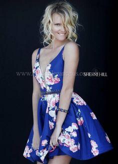 Navy Short Dress w/Rose & Floral Print   Sherri Hill 32321   Bridal Elegance & Pageantry