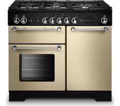 Rangemaster 98800 Kitchener Dual Fuel Range Cooker in Cream and Chrome. Call 01302 63 88 05 for prices.