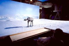 "AT-AT model filmed against a matte painting backdrop / ""The Empire Strikes Back"" behind the scenes"