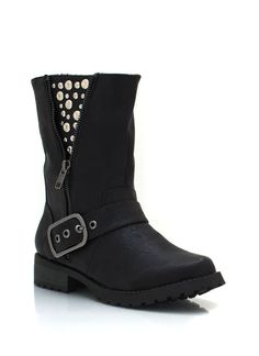 Look rock 'n roll cool when you slip on these faux leather moto boots with studded detailing.
