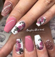 Blumennägel - New Ideas Fancy Nails, Diy Nails, Cute Nails, Pretty Nails, Acrylic Nail Designs, Nail Art Designs, Acrylic Nails, Uñas Fashion, Floral Nail Art